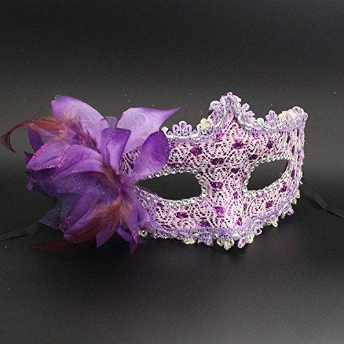 Damjic Halloween Leder Halbe Gesichtsmaske Spitze Seite Flower Make-Up Maske Prom Maske (Make Goonies Sloth Up)