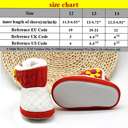 Zhhlinyuan Winter Baby Girls Flowers Warm Soft Sole Snow Boots Toddler Non-slip Shoes Red