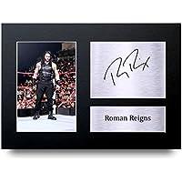 Roman Reigns Los Regalos Firmaron A4 la Dedicatoria Impresa WWE Lucha La Foto de Impresión Imagina la Demostración