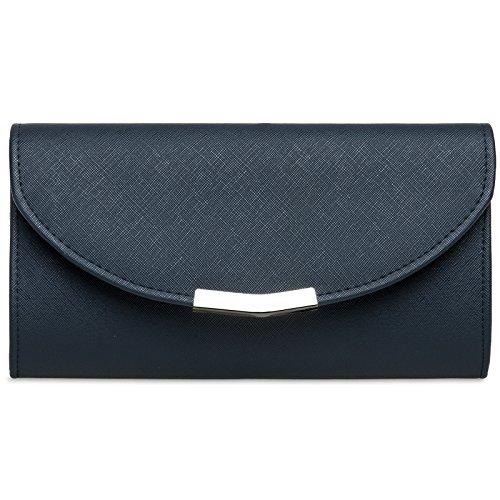 CASPAR TA360 elegante Damen Envelope Clutch Tasche / Abendtasche mit langer Kette, Farbe:dunkelblau;Größe:One Size