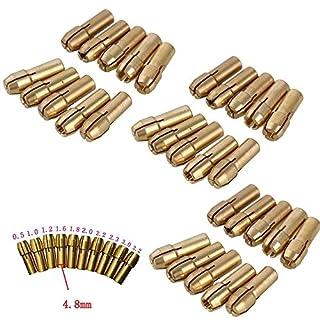 30Stück Messing Spannzange 4,8mm/4.3mm Schaft für Dremel Rotary Tools 0,5mm 0,8mm 1,0mm 1,2mm 1,5mm 1,8mm 2.0mm 2.4mm 3.0mm 3,2mm Bohrer Kontermutter