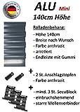 smarotech® Rolladenbehang Höhe 140cm, Breite 70-119cm aus 8x37mm Alu-Lamelle (99cm Breite x 140cm Höhe, anthrazit)