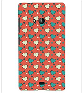 PrintDhaba Heart Pattern D-5340 Back Case Cover for MICROSOFT LUMIA 540 (Multi-Coloured)