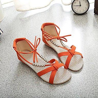 UK4 Casual RTRY Tacco Arancio Donna Nero Lace Intrecciata Sandali CN36 Piattina Blu Piatto US6 Up Comfort EU36 Estivo Pu Beige UUXqw1