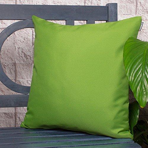 Gartenkissen Sitzpolster – 43cm x 43cm – Wasserabweisend mit einer Textilfaserfüllung – Dekoratives Zierkissen für Gartenbänke, Stühle oder Sofas (2, Limettengrün)