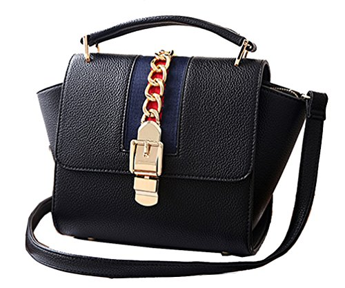 Yan Show Damen Geprägte Handtasche Reine Farbe Wilde Schulter Diagonal Paket Schultertasche /Weinrot Schwarz