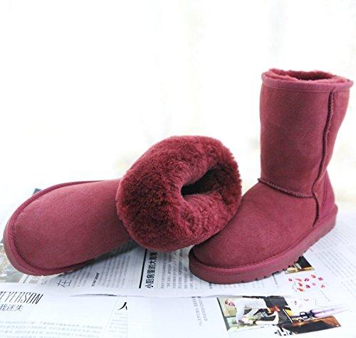 Sqiao-x- Winter Snow Boots, Botas Y Una Sudadera Con Capucha Antideslizante En Piel Cálida, Grandes Zapatos Gruesos De Algodón Y Botas De Arena