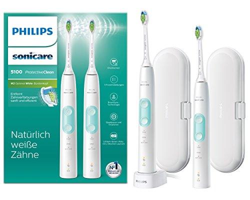 Philips Sonicare ProtectiveClean 5100 elektrische Zahnbürste HX6857/34 Doppelpack - 2 Schallzahnbürsten mit 3 Putzprogrammen, Andruckkontrolle, Reiseetuis - Weiß