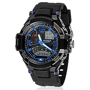 Amlaiworld Orologio da polso per Donne,Impermeabile Multi-funzione orologio sportivo militare al quarzo LED digitale (blu)