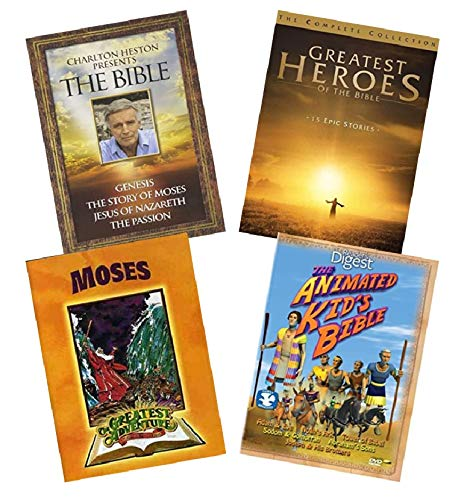 Ultimate Bible Stories Faith DVD Collection: Charlton Heston Presents the Bible / Greatest Heroes of the BIble / Animated Kid;'s Bible / Greatest Adventure Stories from the Bible Moses