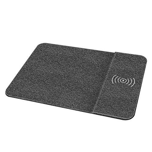 LCCGLR Schnellladegerät kabelloses Ladegerät Fabric Wireless Ladekabel Mauspad QI Fast Wireless Ladegerät Tragbares kabelloses Ladegerät Mauspad Schwarz