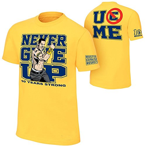 Brandsoon Men's WWE Cotton Round Neck Yellow Ruber Print M Size T-shirt( John Cena Print)  available at amazon for Rs.422