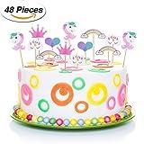 TecUnite 48 Pezzi Unicorno Cupcake Topper Arcobaleno Cuore Corona Torta Topper per Festa a Tema e Compleanno Torta Decorazione