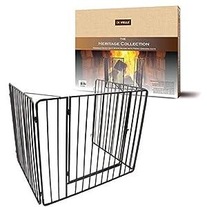 De Vielle – Protector de chimenea con puerta, cuidado para los niños, metal, negro, 91 x 76 x 70 cm