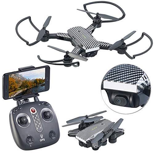 Simulus Drohne Follow Me: Faltbarer GPS-Quadrocopter mit HD-Kamera, Follow-me-Funktion und App (Drohne mit Follow Me Funktion)