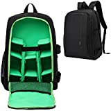 Andoer HUWANG Large Padded Camera Backpack Bag Case Outdoor Travel Daypack Shock-Proof Water-Resistant with Rain Cover Tripod Holder Laptop Pocket for Nikon Canon Sony DSLR Cameras (Black + Green)