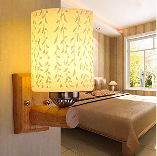 Chambre Bois Lampe de chevet Led Simple Salon Corridor Escalier Escalier en bois moderne et chaleureux décoratif Applique (taille : Seule tête)