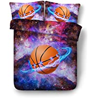 Ktlrr basket-ball Thème Housse de couette Définit Lit simple, 3d Art  d impression Sport Style Basketball Fly Like A Meteor on Fire Flame  Burning, taie ... eb21b921cef5