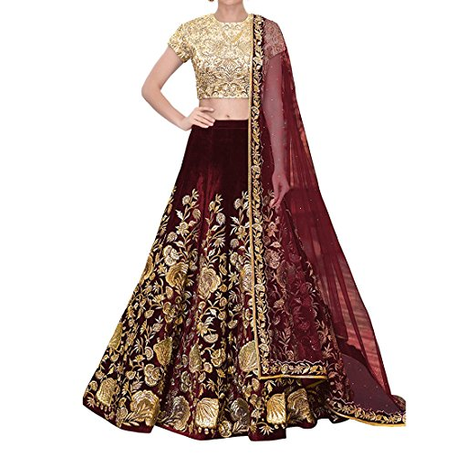 Aryan Fashion Women Velvet Semi-Stitched Lehenga Choli (Fashion Aryan_=120_110107_Maroon_Free Size)
