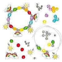 Kit Braccialetti con Ciondoli a tema Arcobaleno per Bambini da Creare e Indossare (confezione da 3)