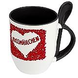 Löffeltasse mit Namen Kussmäulchen - Motiv Rosenherz - Namenstasse, Kaffeebecher, Mug, Becher, Kaffeetasse - Farbe Schwarz