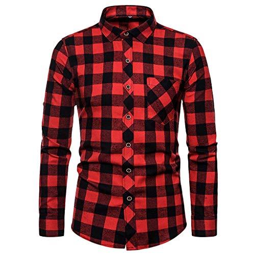 kolila Classic Herren Plaid Shirt Lässige Taste Langarmshirts Shirt Bluse Oberteile