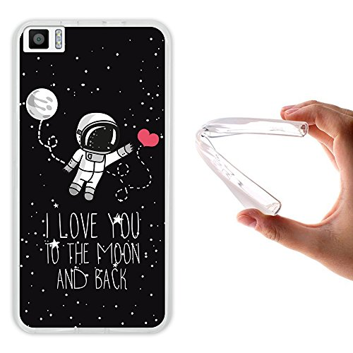 WoowCase Bq Aquaris M5.5 Hülle, Handyhülle Silikon für [ Bq Aquaris M5.5 ] Astronaut Herz - I Love to The Moon and Back Handytasche Handy Cover Case Schutzhülle Flexible TPU - Transparent