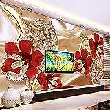 HONGYUANZHANG Benutzerdefinierte Größe Wandbild Moderne 3D Rich Schmuck Blume Luxus Tapete SchlafzimmerWohnzimmer Tv Hintergrund Vliestapete Rolle,260cm (H) X 340cm (W)