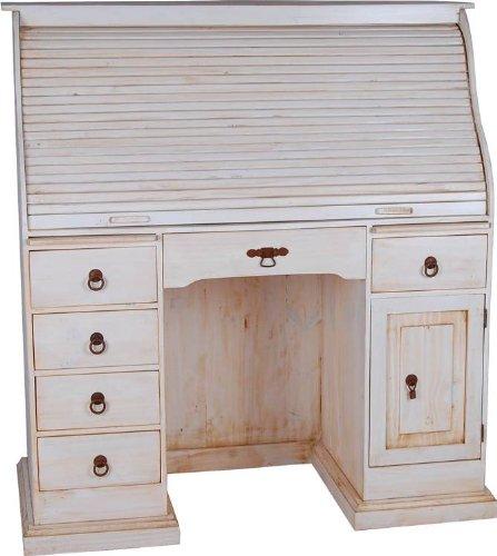 MiaMöbel Sekretär Old White 124x125x58 cm Mexico Möbel Landhausstil Massivholz Pinie Weiß
