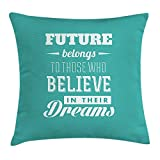 hat pillow Motivational Case Hipster Letters Saying Advice Believe in Your Dreams have Faith in Yourself 18 X 18 inches
