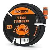 FUXTEC Perlschlauch FX-PS15 / 30 / 50 m premium Tropfschlauch Druckminderer für optimale Bewässerung inkl. Bodenhaken, verbindern und Endstücken