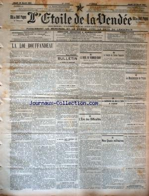 ETOILE DE LA VENDEE (L') [No 2553] du 13/04/1911 - LA LOI BOUFFANDEAU - LE DEUIL DU VENDREDI-SAINT DANS LA MARINE - LA MANIFESTATION DE TROYES - NOS QUAIS MILITAIRES