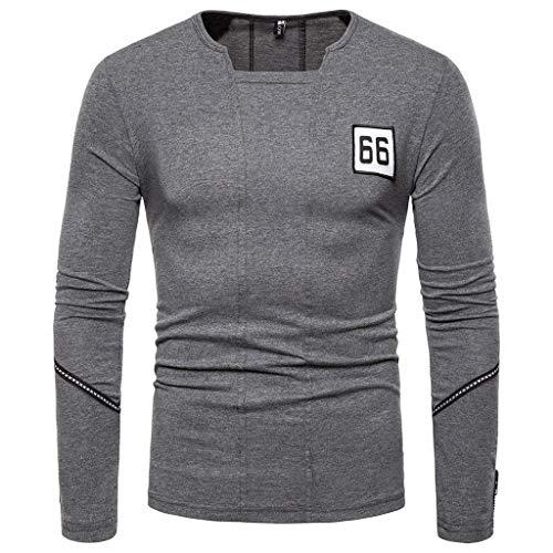 Realde Herren Oder Rundhals Langarm Hemd Sweatshirt Vintage Sport Loose Plain Oberteil T-Shirt Herbst und Winter Passt super auch zur Jeans Männer BequemTops Größe S-XXL (High-top-toms)
