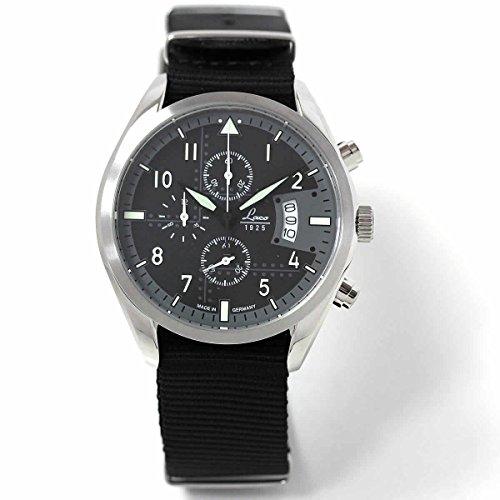 Laco Detroit Chronographs Quartz Watch, Steel, Black, 42 mm, Day, Fabric strap