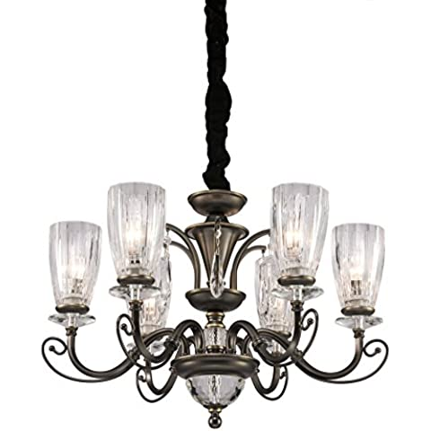Renfang Lighting bianco caldo 6-Light ferro industriale vintage lampadario a soffitto della lampada della lampada per Ristorante balcone Camera con paralume 8672-6