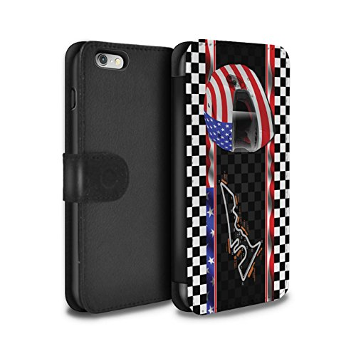 Stuff4 Coque/Etui/Housse Cuir PU Case/Cover pour Apple iPhone 6 / Monaco/MonteCarlo Design / F1 Piste Drapeau Collection USA/Austin