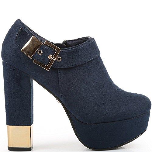 Ideal Shoes-Scarpette per talloni spesso, morbido al tatto, con accent Stida metallico Blu (Marina)