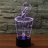 3D Lampe USB Power 7 Farben Erstaunliche Optische Täuschung 3D Wachsen LED Lampe Ballerina Form Kinder Schlafzimmer Nachtlicht