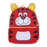 DonDon Kinderrucksack für Mädchen und Jungen Tiermotiv Katze rot 33 x 26 x 13 cm