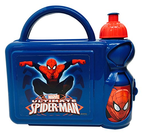 Marvel Ultimate Spiderman Fiambrera Estuche Rígido con Botella