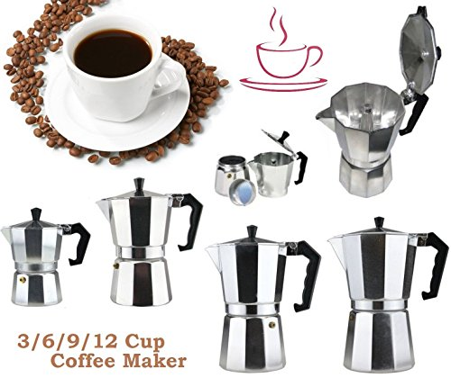 Aluminium Coffee Maker Expresso Espresso Cafetiere Percolator Kettle Coffee Pot 3/6/9/12 Cup Wilsons Direct 51BCO 2BYC5qL