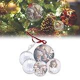kamiustore Set Palline di Natale Trasparenti Personalizzate - 5 Palle di Natale in plastica Trasparenti con Stampa Personalizzata per Decorazioni Natalizie ed Eventi (Blu)