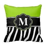 Akhy Lime Green Zebra Print Monogram Pillow Case Cushion Cover Home Sofa Decorative 18 X 18 Squares