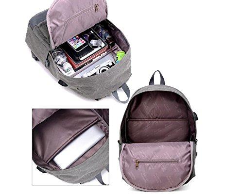LQABW Tela Di Canapa Adatta Per Lo Zaino USB Casual All'aperto Travel Bag Di Carico Grande Capacità 20L,Black Brown