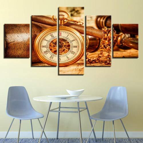 lianglianga Fünfteilig - Wanddekoration - Bild Auf Leinwand - Zum Aufhängen Bereit - Mehrteilig - Kunstdruck - Geschenk - A - Rahmen - Taschenuhr Bild