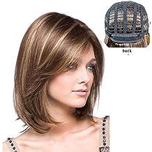 Para mujer pelo peluca Ombre sintético peluca marrón y dorado hombro longitud recta sintético Fabulous Medio peluca Natural como real pelo partido peluca