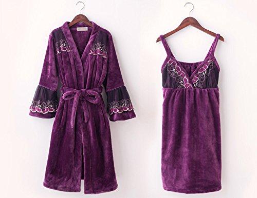 Oneworld Damen Flanell Pyjamas Set Bademantel Nachthemd zweiteiliger Schlafanzug Hausanzug Langarm Winter Dick Warm Violett F6093