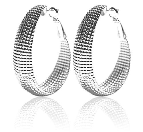 2LIVEfor - Pendientes de aro de plata ovalados, grandes, colgantes, de