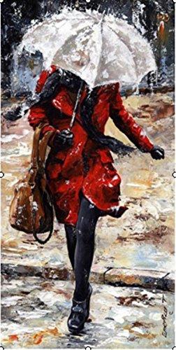 OBELLA Malen nach Zahlen Kits    Roter Mantel Frau im Regen 50 x 40 cm    Malen nach Zahlen, DIGITAL Ölgemälde (Mit Rahmen) (Indischen Winter Im Mantel)