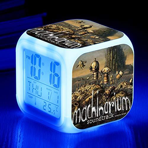 nigten Staaten Persönlichkeit kreative Multifunktionswecker mechanische Fan Stadt bunte quadratische Wecker LED kreatives Geschenk kleinen Wecker Bett kleinen Wecker ()